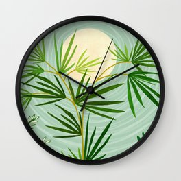 Summer Moon / Tropical Garden Illustration Wall Clock