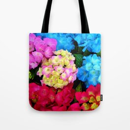 Red Blue Rose Flower Blossoms Hydrangeas Tote Bag