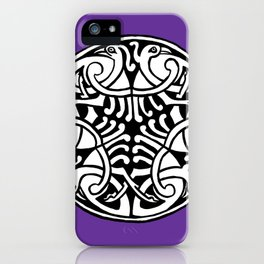 Celtic Art - Interlaced Birds - on Purple iPhone Case