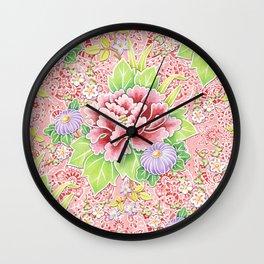 Pink Paisley Kimono Bouquet Wall Clock