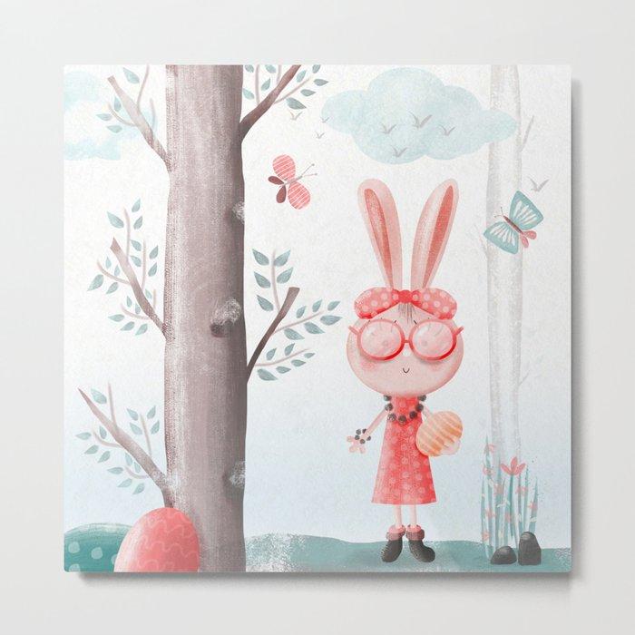 A Girl Bunny Metal Print