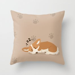 Sleepy Corgi Throw Pillow