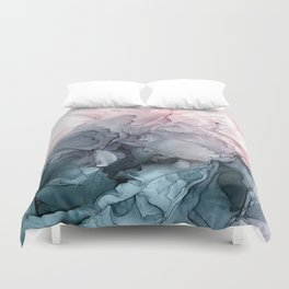 Blush And Payne S Grey Flowing Abstract Painting Duvet Cover