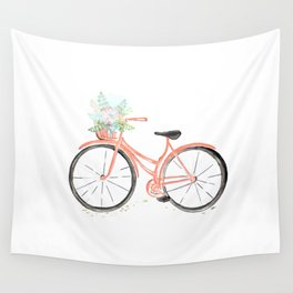 Coral Spring bicycle with flowers Wall Tapestry
