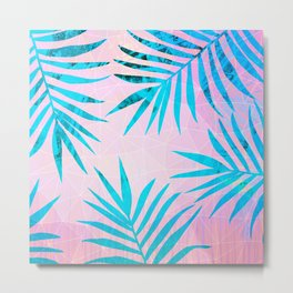 Refreshing Geometric Palm Tree Leaves Tropical Chill Design Metal Print
