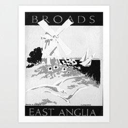 retro monochrome East Anglia Art Print
