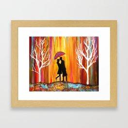 Romance in the Rain I romantic gift art Framed Art Print