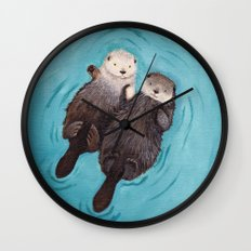 Otterly Romantic - Otters Holding Hands Wall Clock