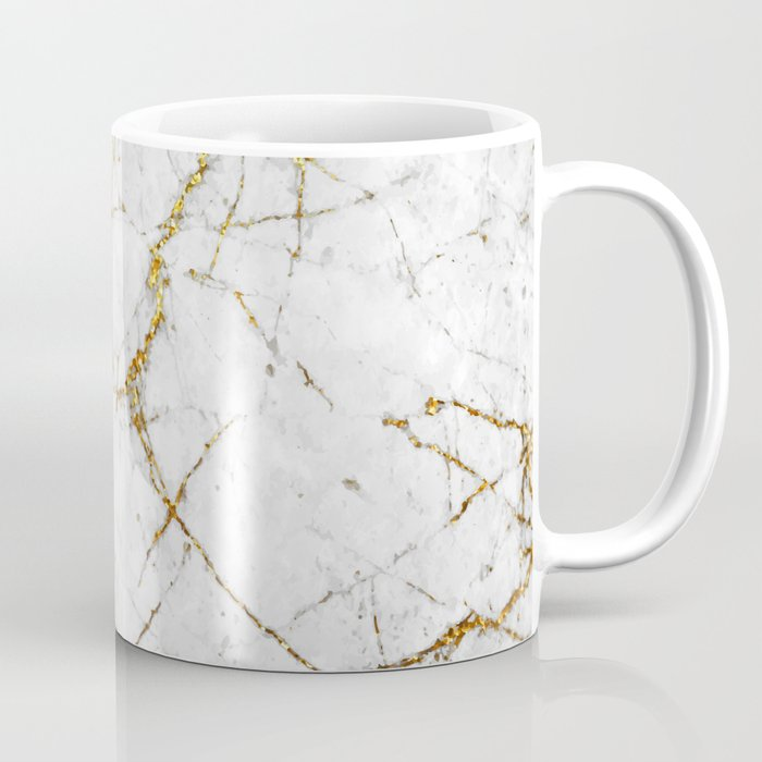 Gold Glitter and White Marble Coffee Mug