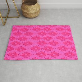 Mudcloth Dotty Diamonds in Neon Pink + Red Rug