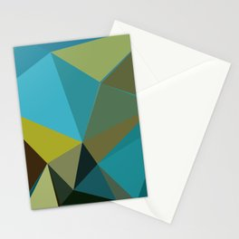 Abstract Blue Gold Low Poly Geometric Stationery Cards