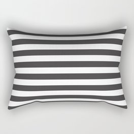 Dark Grey and White Stripes | Horizontal Medium Stripes | Rectangular Pillow