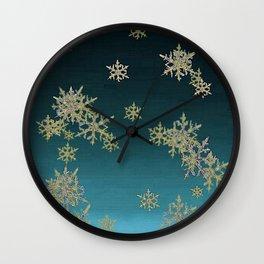 """MORE SNOW"" TEAL BLUE ART DESIGN Wall Clock"