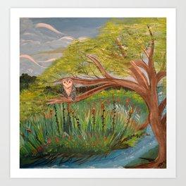 Original Acrylic Artwork By MiMi Stirn -  HooMasters Collection HooMonet #413 Art Print