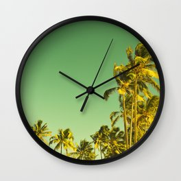 palm love in tropical green gold jewel tones Wall Clock