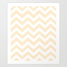 Blanched almond - pink color -  Zigzag Chevron Pattern Art Print