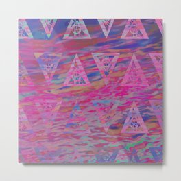 Rainbow sea waves Metal Print