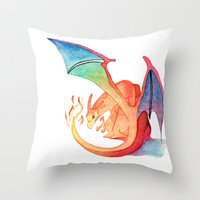 charizard Throw Pillows featuring Charizard by Natalie Huber