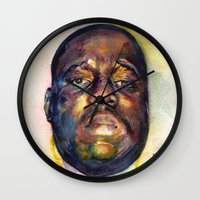 biggie Wall Clocks featuring Biggie  by Kyle Miller