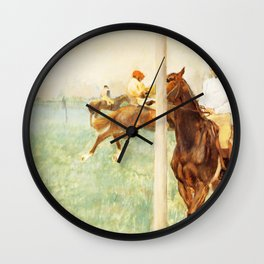 Jockeys Before The Start With Flagpoll 1879 By Edgar Degas | Reproduction | Famous French Painter Wall Clock