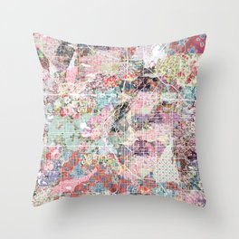columbus map flowers Throw Pillow