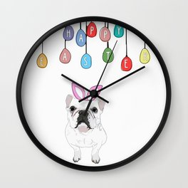 Happy Easter - Frenchie Bunny Wall Clock