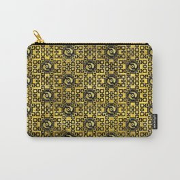 Luxury Oriental Gold on Black Koi Fish Pattern Carry-All Pouch