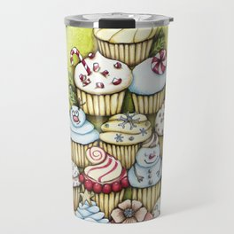 cupcake christmas tree Travel Mug