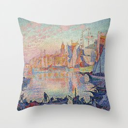 Paul Signac - The Port Of Saint Tropez Throw Pillow