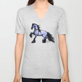 Friesian Mare Prancing Unisex V-Neck