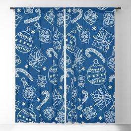Christmas Doodle Pattern Pantone Classic Blue Blackout Curtain