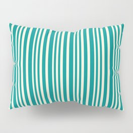 Beige and Dark Cyan Colored Lined Pattern Pillow Sham