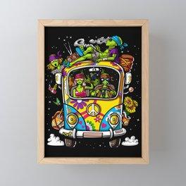Aliens Hippie Van Peace UFO Framed Mini Art Print