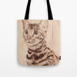 Bengal Cat Portrait - Drawing by Burning on Wood - Pyrography art Tote Bag