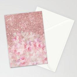 Girly pink boho floral rose gold glitter Stationery Cards