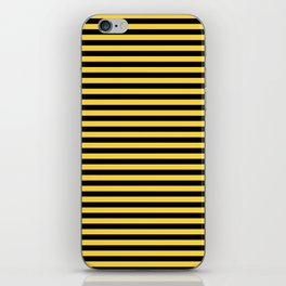 Even Horizontal Stripes, Yellow and Black, S iPhone Skin