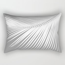 Large Palm Leaf, Grey / Gray and White Rectangular Pillow