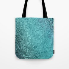 Detailed zentangle square, blue colorway Tote Bag