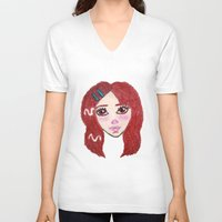 ruby V-neck T-shirts featuring Ruby by Feral Doe