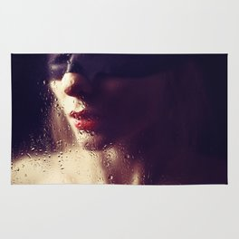 Beautiful woman Blindfolded Rug
