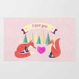 Valentine's Day Foxes in Love Rug