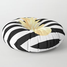Gold Pineapple Black and White Stripes Floor Pillow