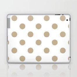 Polka Dots - Khaki Brown on White Laptop & iPad Skin