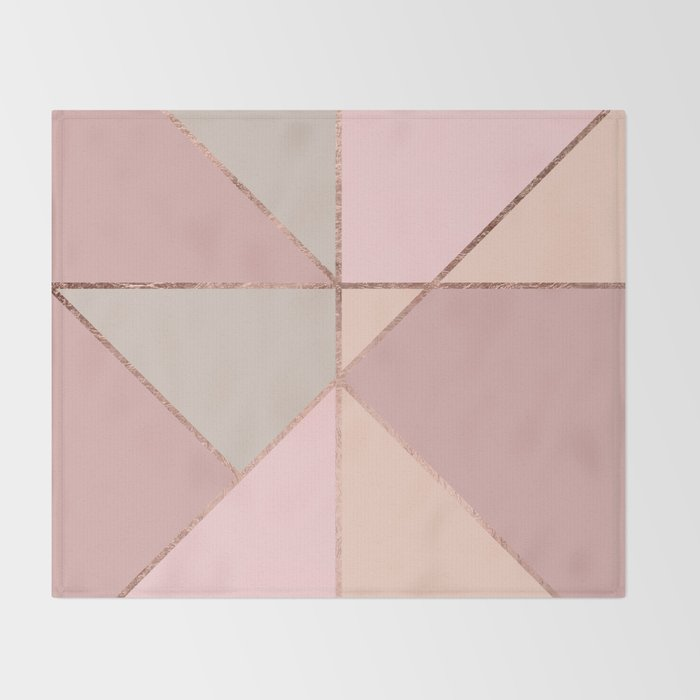 Modern Rose Gold Peach Blush Pink Color Block Throw Blanket By Enchanting Blush Pink Throw Blanket