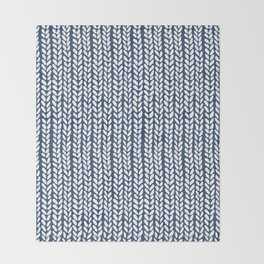 Knit Wave Navy Throw Blanket