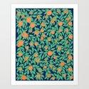 Oranges and Leaves Pattern - Navy Blue by sewzinski