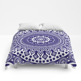 Mandala 006 Midnight Blue on White Background Comforters