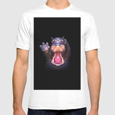 Animal Portraits - Hippopotamus Mens Fitted Tee White MEDIUM