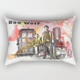 Doctor Who 10th Doctor David Tennant With Companion Rose Tyler Rectangular Pillow