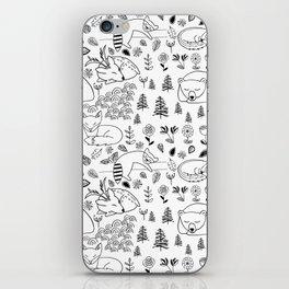 Sleepy Woodland Animals - Black and White iPhone Skin